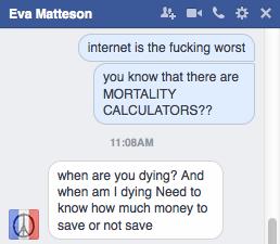Mortality Calculator Message